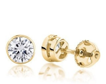 1/2 Carat Diamond Bezel Earrings - SI G/H 14K White, Rose or Yellow Gold by Luxinelle