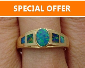 Inlay Set Blue Opal Ring - Size 6.5 - October Birthstone 14K Yellow Gold