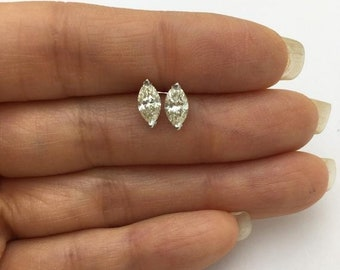 1.19 Carat Marquise Diamond Solitaire Stud Earrings - Eye Clean 14K White Gold by Luxinelle