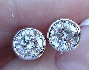 1 Carat Bezel Diamond White Gold Stud Earrings 14K Round Solitaire