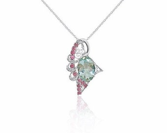 5.34 Ctw Aquamarine Pink Tourmaline and Diamond Pendant in 14k White Gold