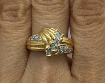 18K Baguette and Round Diamond Yellow Gold Statement Ring by Luxinelle