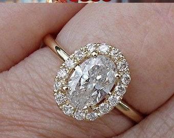 Big 1 Carat Oval Diamond Halo Engagement Ring 14K Yellow, White or Rose Gold EGL USA Certified Diamond Large Face