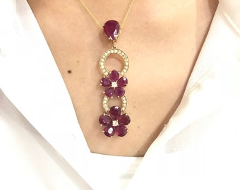 13.21 cttw Red Ruby Flower and Diamond Drop Pendant in 14K Yellow Gold with Pear Shaped Rubies by Luxinelle