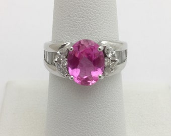 2.93 Carat Pink Topaz and Diamond Ring 18K White