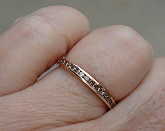 Channel Set Chocolate Brown Diamond Band - 14K Rose Gold