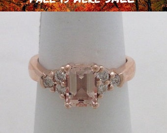 1 Carat Rose Gold Morganite Ring - 14K Emerald-cut 7x5mm with Diamonds by Luxinelle