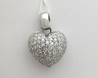 1.28 Carat Round Diamond Heart Pendant - 14k White Gold Pave Diamond Necklace by Luxinelle