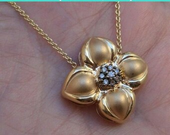 14K Yellow Gold Flower Pendant with 0.25 Carat Accent Diamonds