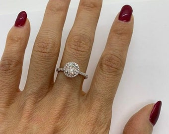 1 Carat Diamond Ring - EGL Certified E Color, SI3 Micropave Halo Engagement Ring 1.27 TCW Looks Huge!
