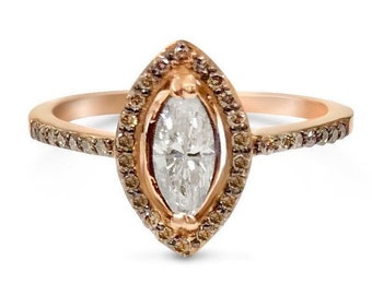 Marquise Diamond with Champagne Diamonds Halo in 14K Rose Gold Ring, Unique Alternative Engagement Ring, Black Rhodium Prongs