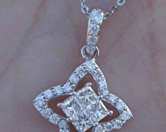 Princess Cut Diamonds in Halo Pendant - 14K White Gold (0.50 Carat)