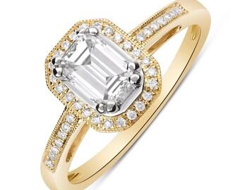 14K Emerald Cut Diamond Halo Engagement Ring (Yellow Gold) 0.73TCW Resizable