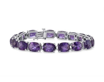 37.2 Carat Elongated Cushion Amethyst Chain Bracelet -14K White Gold 7 inches by Luxinelle