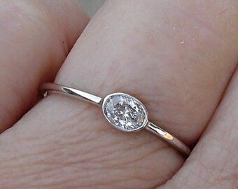 0.25 Carat East West Diamond Solitaire Promise Engagement Ring Bezel 14K White Gold, Rose Gold, Yellow Gold Stacking Minimalist
