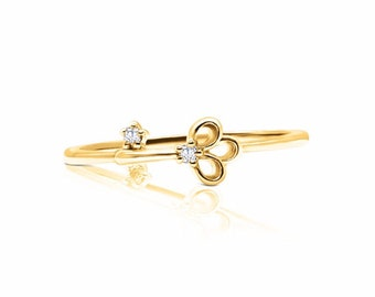 Yellow Gold Diamond Key Stacking Ring, Lock and Key, Petite Feminine Minimalist by Luxinelle