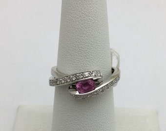 East West Pink Sapphire and Diamond White Gold Ring - 14K