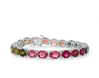 Rainbow Multi-Color Tourmaline Bracelet - One of a Kind Piece 14K White Gold by Luxinelle Jewelry