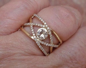 1 Carat Bezel Champagne Colored Diamond Crossover Wide Band 14K Yellow Gold Ring