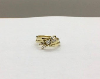 1/2 Carat Diamond Ring Set Yellow Gold Engagement Ring with Matching Wedding Band 0.46 TCW SI clarity