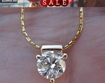 1 Carat Diamond Solitaire Pendant - 3 Prong Setting (14K Yellow Gold) by Luxinelle