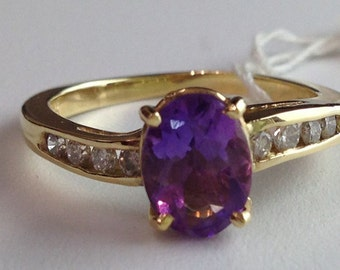 1 Carat Oval Amethyst and Round Diamond Ring in 14K Yellow Gold, 1.27 cttw, February Pisces Birthstone Mother's Day