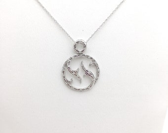0.10 Carat Pave Diamond Circle Pendant with Chain 10K - Twisted Vine Design White Gold