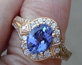 1.56 Carat Tanzanite and Diamond Ring - 14K Yellow Gold