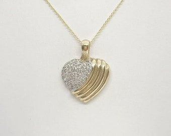 1 Inch Diamond Heart 14K Yellow Gold Pendant on a Chain by Luxinelle
