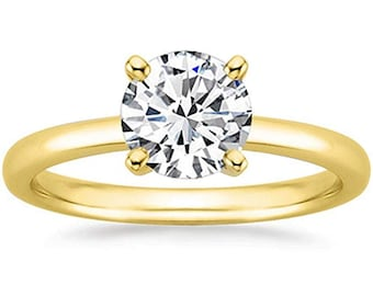 1/2 Carat Gia Certified Diamond Engagement Ring 0.44 Ct VS2 I 4 Prong 14K Yellow Gold