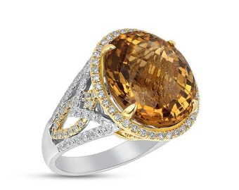 Huge 2 Tone Gold Citrine and Diamond Statement Ring - 14K 15.54TCW by Luxinelle