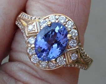 1.56 Carat Tanzanite and Diamond Ring - 14K Yellow Gold