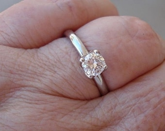Old European Cut Diamond 1/2 Carat Solitaire Engagement Ring 14K White, Yellow or Rose Gold