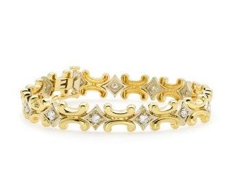 Stunning 2 Tone Gold Diamond Bracelet 1.20 Carats