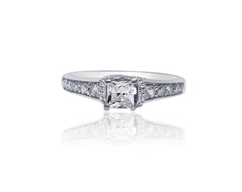 0.40 Princess Cut Diamond Vintage Inspired Setting Engagement Ring by Luxinelle