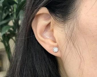Bezel Diamond Stud Earrings 14K Minimalist Jewelry - Simple Diamond Earrings (White, Yellow or Rose Pink Gold)