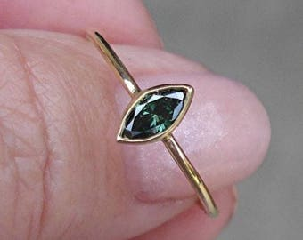 Marquise Cut Green Diamond Bezel Set Ring - 14K Yellow Gold 0.25 Carat, one of a kind unique stacking ring
