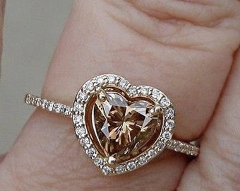 EGL Certified 1 Carat Heart Shaped Brown Diamond Halo Engagement Ring - 14K Yellow Gold