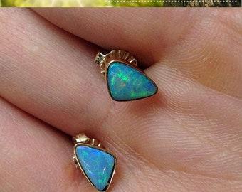 Gold Blue Opal Bezel Earrings - October Birthstone 14K Yellow Gold