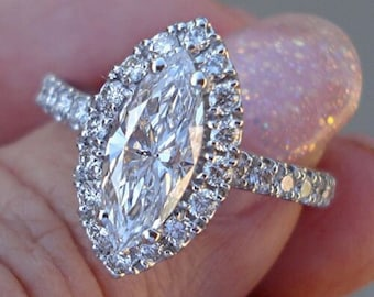 1.60 Carat Certified Marquise Diamond Halo Engagement Ring Diamond - 14K White Gold