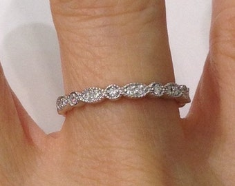 Bead and Eye 14K White Gold Wedding Band 2.5mm - Pave Setting Art Deco Vintage Style Stacking Rings