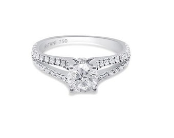 Ritani Setting 0.86 Carat Diamond Split Shank 18K White Gold Ring by Luxinelle