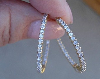 1 Carat 18K Yellow Gold Inside Outside Diamond Hoop Earrings - 1 Inch Pave Setting by Luxinelle