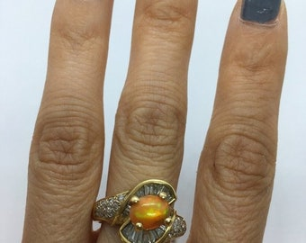 1 Carat Opal and Baguette Diamonds 14K Yellow Gold Statement Ring by Luxinelle