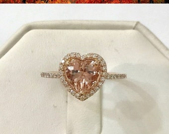 14K Rose Gold Diamond Halo Heart Shaped Morganite Ring Pink Gold by Luxinelle