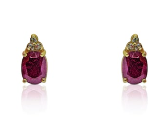 3.83 Carat Red Ruby Earrings with 3 Diamond Crown Stud Earrings in 14K Yellow Gold by Luxinelle