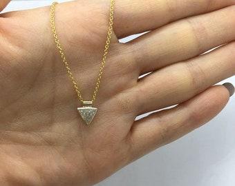 0.44 Carat Bezel 14K Yellow Gold Trillion Cut Diamond Necklace Handmade by Luxinelle