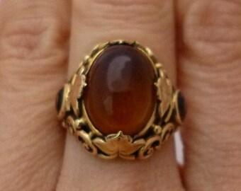 Oval Cabochon Citrine Ring 14K Yellow Gold - Antique Vintage Filagree - November Birthstone
