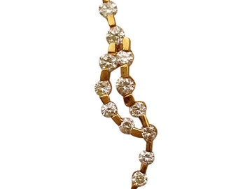 Yellow Gold Diamond Wave Pendant Charm Necklace - 14k