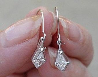 0.26 Carat Unique Custom Cut Diamond Dangle Drop Earrings - 14K White Gold - One of a Kind Diamond Earrings